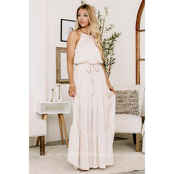Dancing With Royalty Woven Satin Maxi Dress | Ivory