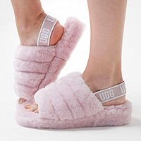 UGG Women Fashion Fur Flats Contrast Color Hight Quality Shoes Keep Warm Sandals Slipper