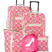 New Directions® 5-Piece Pink Geo Print Luggage Set - Belk.co