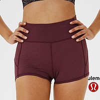 Lululemon  athletica women's fitness stretch breathable quick-drying shorts Purple