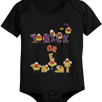 Trick or Treat Cute Candy Corn Baby Bodysuit Infant Black Onesuit for Halloween