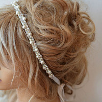 Wedding headband,  Rhinestone and Pearl  headband, Bridal Headband,  Bridal Hair Accessory, Wedding hair Accessory