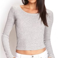 Grey Round Neckline Backless Long Sleeve Top