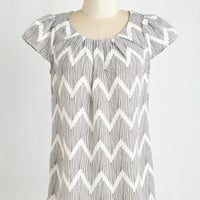 Mid-length Cap Sleeves Steal the Show Top in Chevron