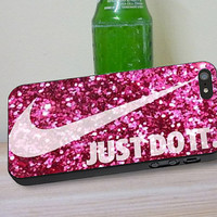 Nike just do it Pink Glitter, iPhone 4/4s, 5/5s, 5c, 6, 6 Plus, iPod 4,5 Touch, Samsung Galaxy s3,s4,s5, Note 2,3