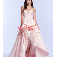 High Low Blush Pink Strapless Gown