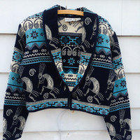 Vintage MEXICAN woven cotton Blanket SOUTHWEST Bohemian tapestry cropped tribal ethnic aztec Indian hippie jacket