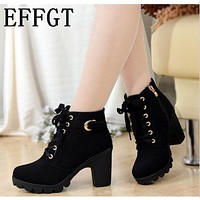 Women Ankle Length Winter Boots With Lace And Buckle Detailing