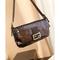 FENDI Popular Women Personality Leather Sequins Shoulder Bag Handbag Crossbody Satchel Black