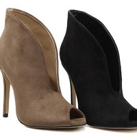 Boots -  Pumps - Suede High Heels Women Sexy V mouth Fish Head High Top Ankle Boots
