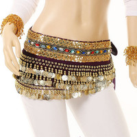 Purple Indian Dance Belly Costume Sequins Hip Waist Chain