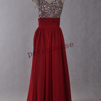 Red Beaded Long Prom Dresses with Peacock Necklace,Bridesmaid Dresses, Evening Dresses,Formal Party Dresses,Wedding Party Dresses,Prom Dress