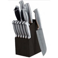 Kitchen Knife Set 14 pc Stainless Steel Knives Black Wood Block Oster Cutlery