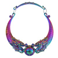Fashion Ethnic Necklaces 2017 New Multi Color Gypsy Vintage Double Dragon Element Maxi Statement Necklace Women Collares Chokers