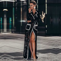 Adyce 2019 New Winter Women Fashion Trench Coats Black Sequin Deep V Long Sleeve Double Breasted Long Style Coat Women Maxi Coat