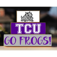 Texas Christian University - Trio Wood Blocks Stack - Purple/White - Home Decor/Gift - Fort Worth Texas- Wooden Blocks