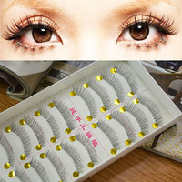 Hot Sale! 10 Pair Natural Lower Bottom False Eyelashes Clear Band Makeup Long Eye Lash 217 Drop Shipping