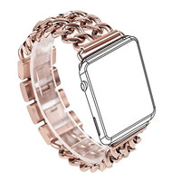 For Apple Watch Band, Wearlizer Stainless Steel Watch Band Replacement Strap for Both Apple Watch Series 1 and Series 2 - 38mm Rose Gold