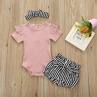 3pcs baby headband newborn girl outfit clothes for baby girl Romper Jumpsuit