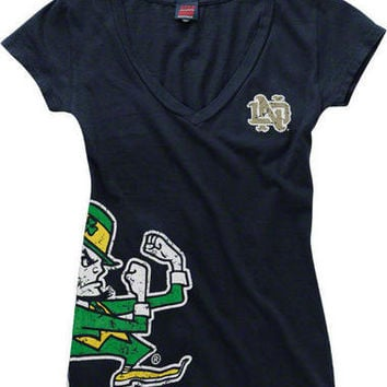 Notre Dame Fighting Irish Womens Navy Cossett Mascot Deep V-Neck Tee-Notre Dame Fighting Irish-NCAA- Gotta Go to Mo's