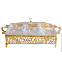 4 Compartment Style Snacks Metal Gold Tray Fruit Box With Cover