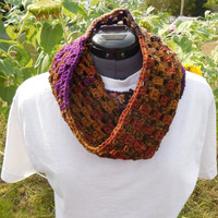 Textured Granny Cluster Cowl Scarf, Brown Rust Tan and Purple Crochet Loop, Neck Warmer Scarf