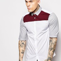 ASOS Shirt With Half Sleeves And Contrast Panels