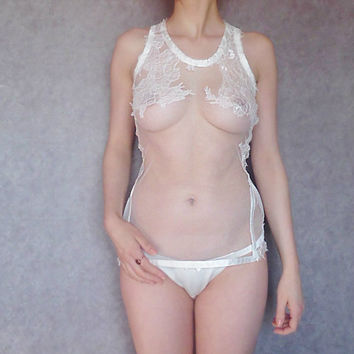 Sheer tulle white  lace camisole tank top / Sheer lounge wear Luxury bridal lingerie Chantilly Lace tank top Luxury lace loungerie