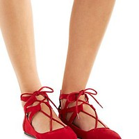POINTED TOE LACE-UP CAGED FLATS
