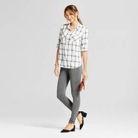 Women's Plaid Any Day Shirt - A New Day™ Cream S