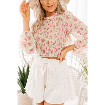 Blooming Lovely Smocked Floral Crop Top (Ivory)