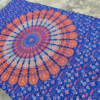 magical thinking mandala tapestry - hippie boho wall hanging - indian bedspread bedding throw - ethnic home decor