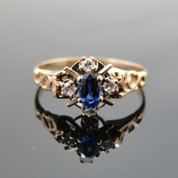 10k Roe Gold Victorian Sapphire Ring for Engagement, Anniversary or Every Day RGSAP101D