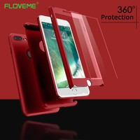 FLOVEME 360 Case For iPhone X 8 7 6 6S Plus 5 5S Tempered Glass  Full Protective Cases For iPhone X 8 7 6 Plus Case Phone Shells