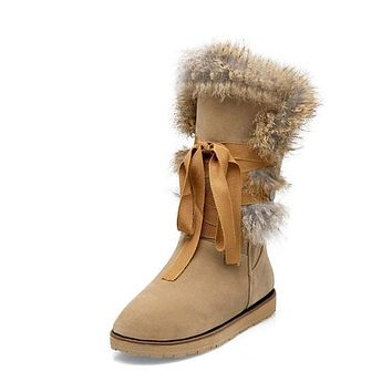 Round Toe Lace Up Women's Snow Boots