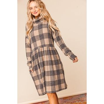 Taupe Plaid Cowlneck Pocketed Babydoll Dress