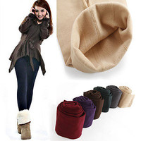 052 Brushed Lining Fleece Thick  Skinny Stretch Tights Pants Warm Leggings HOT