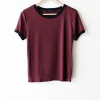 Striped Ringer Tee - Burgundy