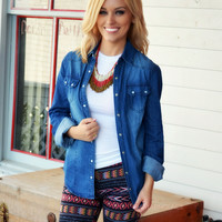 SZ LARGE Cheyenne Button Down Denim Top