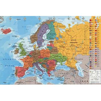 Political Map of Europe Education Poster 24x36