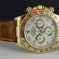 ROLEX - Mens 40mm Daytona 18kt Yellow Gold - White ARABIC Dial - 116518