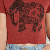 Title Unknown Crop Top in Elephant Print - Urban Outfitters