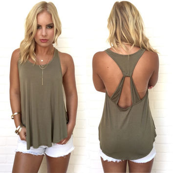 Usual Suspect Jersey Tank In Olive