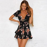 Floral Dresses Sexy Women Boho Flower Wrap Frill Beach Mini Short Dress V-neck Short Sleeve Sundress Womens Clothes New
