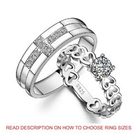 18K White Gold Plated Cross and Heart Couple Band Ring 2 PIECE SET (TWO RINGS) = 1930071812