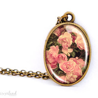 Roses necklace, glass cabochon jewelry, flower jewellery by The Neverland