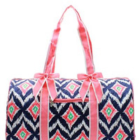 IKAT Print Quilted Duffel Bag - 2 Color Choices