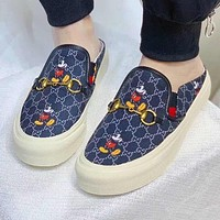 GUCCI & Disney New fashion mouse more letter print shoes women Blue