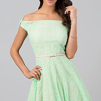 Short Lace Off the Shoulder Dress by City Triangles