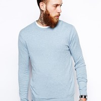 ASOS Crew Neck Sweater In Cotton - Blue